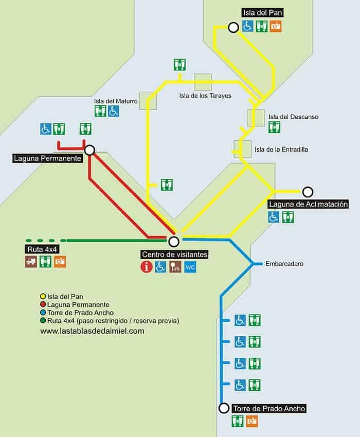 Mapa con las rutas por el Parque Nacional de las Tablas de Daimiel