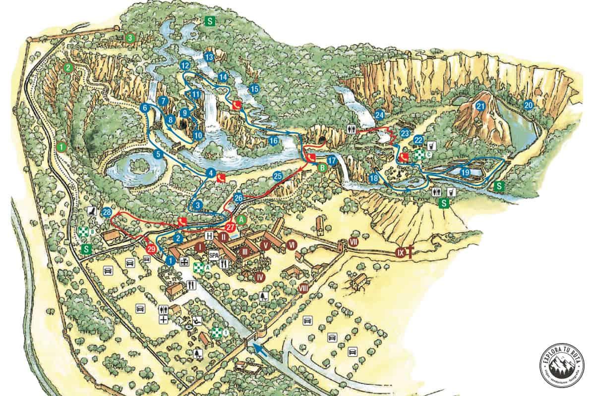 Mapa con el recorrido por el Parque Natural del Monasterio de Piedra