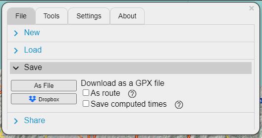 Por último podemos guardar nuestro track gps editado y modificado.