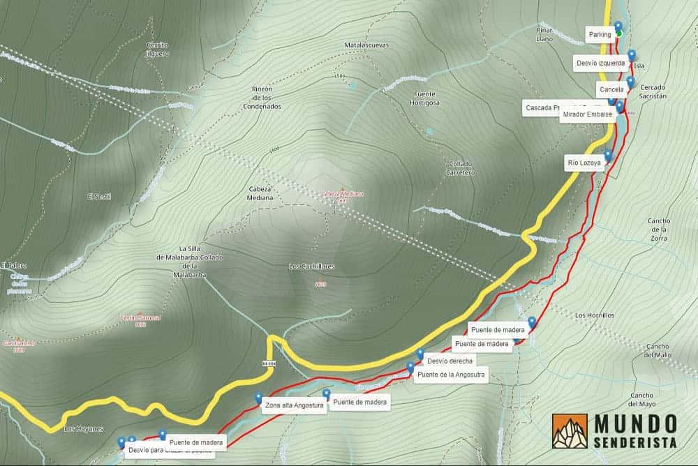 Mapa real para editar track gps de una ruta de senderismo