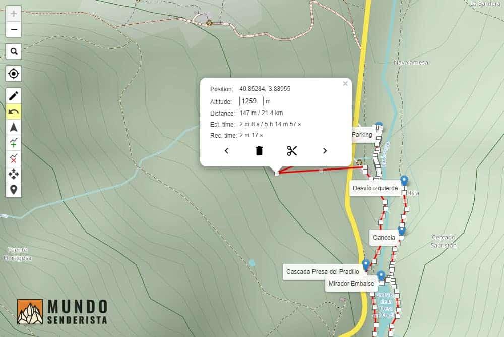 Un ejemplo de poder mover un punto de la ruta y poder eliminarlo o cambiar su ubicación.
