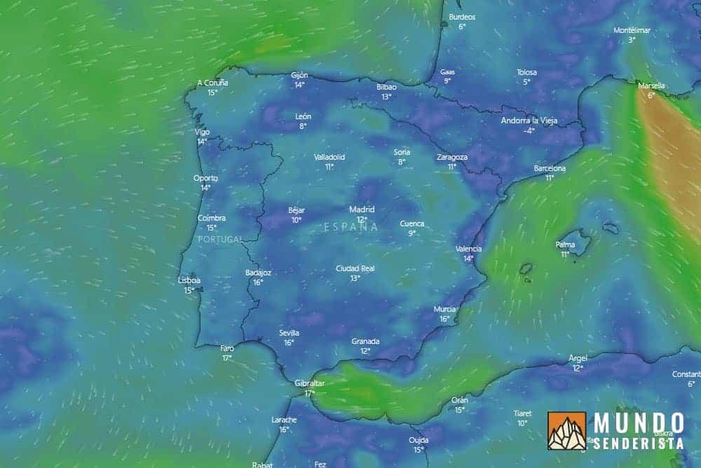 Mapa general de Windy para la previsión meteorológica para la montaña