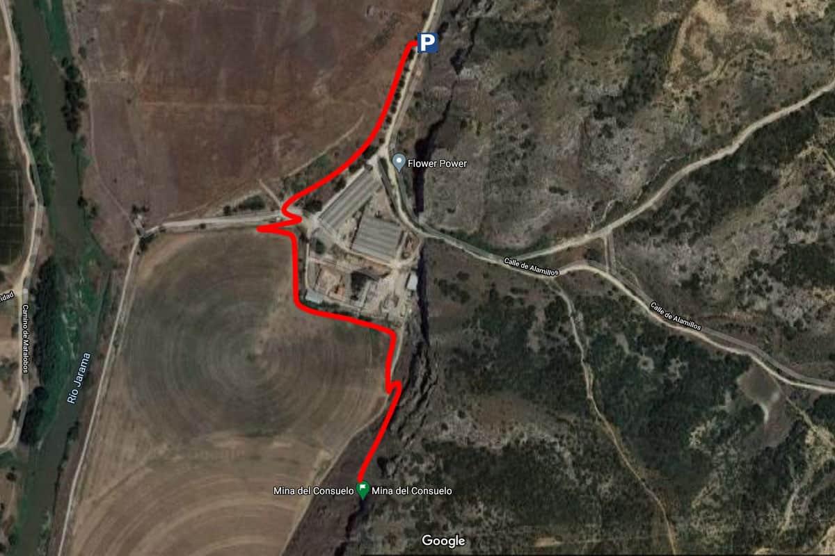 Mapa apra llegar a la Mina del Consuelo
